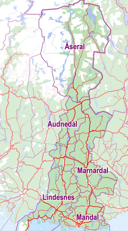 Kart over Lindesnesregionen